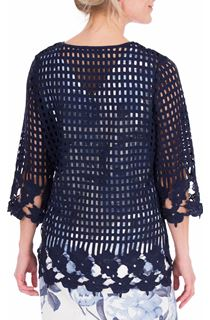 Anna Rose Long Crochet Cover Up - Midnight