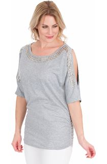 Embellished Cold Shoulder Jersey Tunic