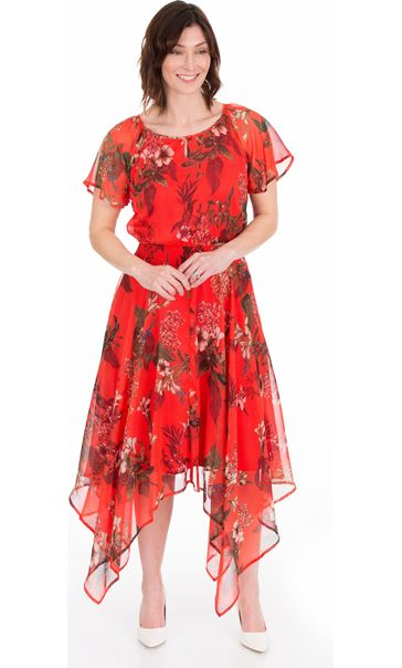 Printed Chiffon Hanky Hem Maxi Dress Ruby