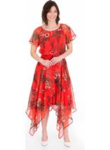 Printed Chiffon Hanky Hem Maxi Dress Ruby - Gallery Image 1