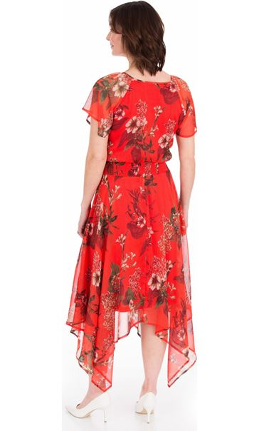 Printed Chiffon Hanky Hem Maxi Dress