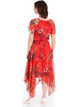 Printed Chiffon Hanky Hem Maxi Dress Ruby - Gallery Image 2
