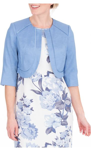 Anna Rose Cropped Open Jacket Mid Blue