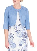 Anna Rose Cropped Open Jacket Mid Blue - Gallery Image 1
