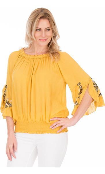 Embroidered Three Quarter Sleeve Smocked Top Mustard