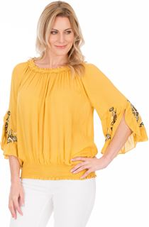 Embroidered Three Quarter Sleeve Smocked Top