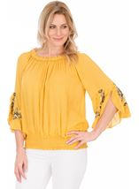 Embroidered Three Quarter Sleeve Smocked Top Mustard - Gallery Image 1