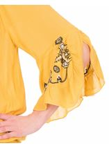 Embroidered Three Quarter Sleeve Smocked Top Mustard - Gallery Image 3