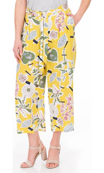 Floral Wide Leg Cropped Trousers Mustard