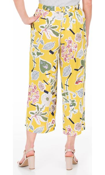 Floral Wide Leg Cropped Trousers Mustard - Gallery Image 2