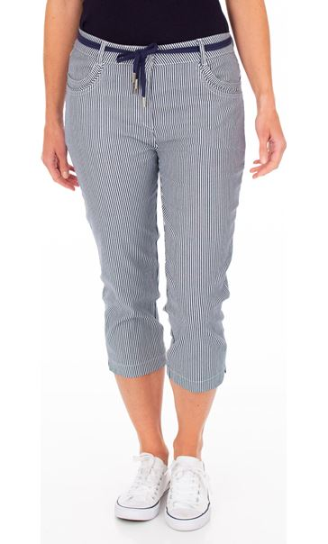 Stripe Cropped Trousers Blue