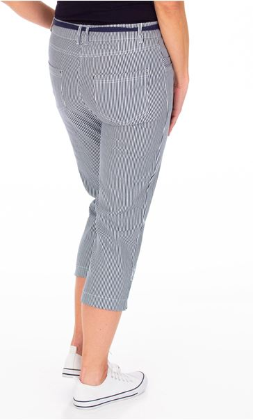 Stripe Cropped Trousers Blue - Gallery Image 2