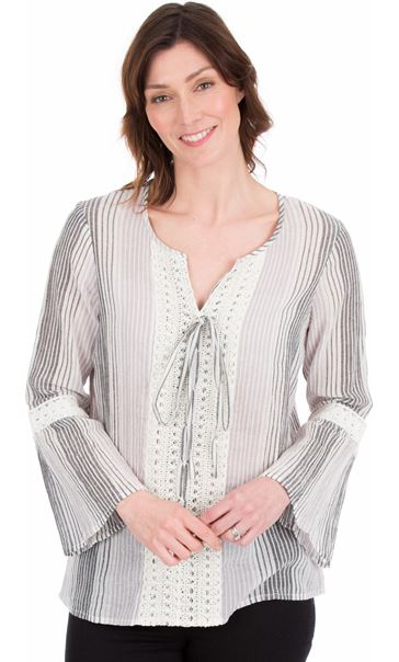 Fluted Sleeve Stripe Top Grey