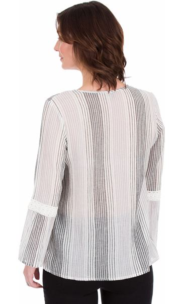 Fluted Sleeve Stripe Top Grey - Gallery Image 2