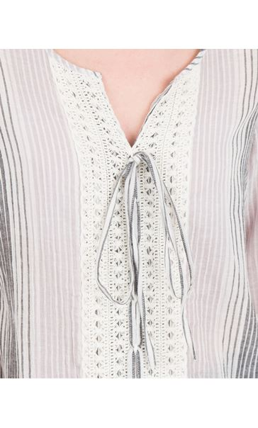 Fluted Sleeve Stripe Top Grey - Gallery Image 3