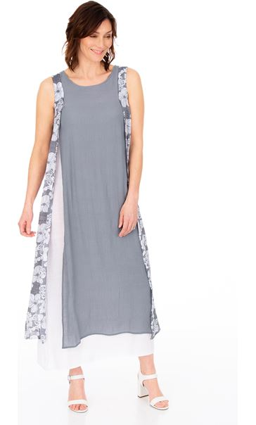 Sleeveless Layered Maxi Dress Grey/White