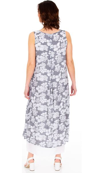Sleeveless Layered Maxi Dress Grey/White - Gallery Image 2