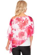 Floral Chiffon Layered Top Hot Pink - Gallery Image 2