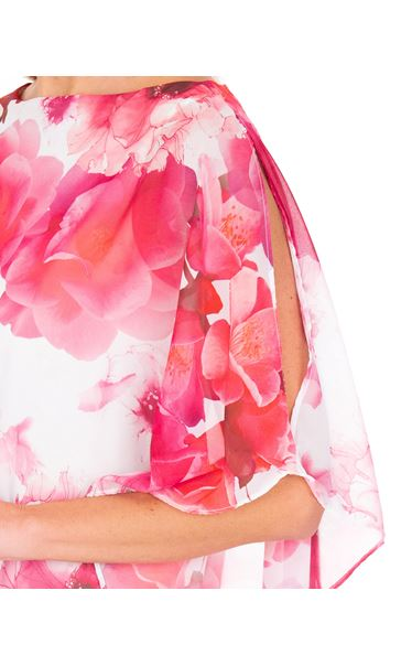 Floral Chiffon Layered Top Hot Pink - Gallery Image 3
