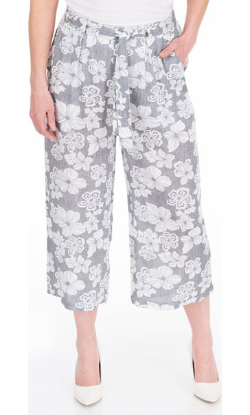 Cropped Wide Leg Pull On Printed Trousers Grey/White