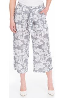 Cropped Wide Leg Pull On Printed Trousers