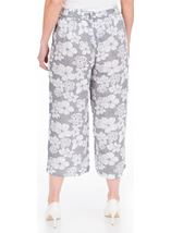 Cropped Wide Leg Pull On Printed Trousers Grey/White - Gallery Image 2