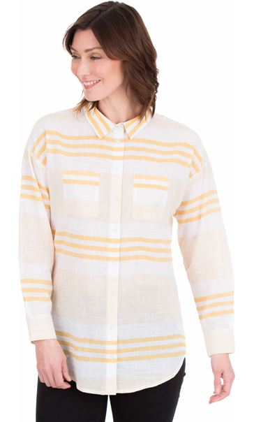Long Sleeve Striped Cotton Shirt Mustard/White