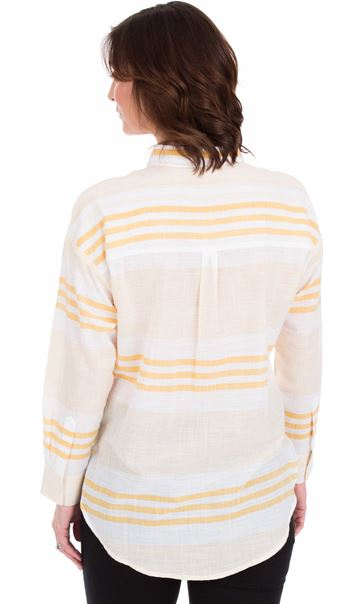 Long Sleeve Striped Cotton Shirt Mustard/White - Gallery Image 2
