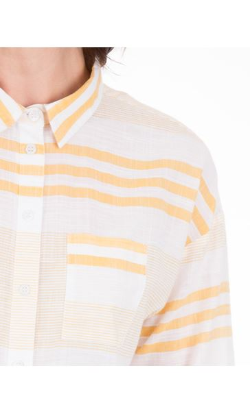 Long Sleeve Striped Cotton Shirt Mustard/White - Gallery Image 3