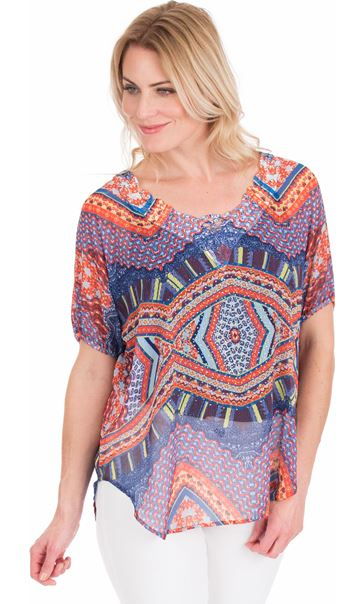 Embellish Print Georgette Top Blue/Coral