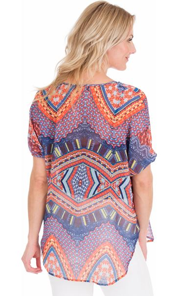 Embellish Print Georgette Top Blue/Coral - Gallery Image 2