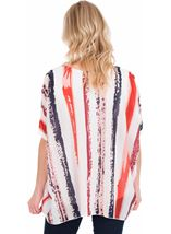 Stripe Print Layer Top White/Coral/Blue - Gallery Image 2