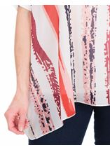 Stripe Print Layer Top White/Coral/Blue - Gallery Image 3