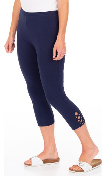 Cropped Jersey Leggings Denim Blue