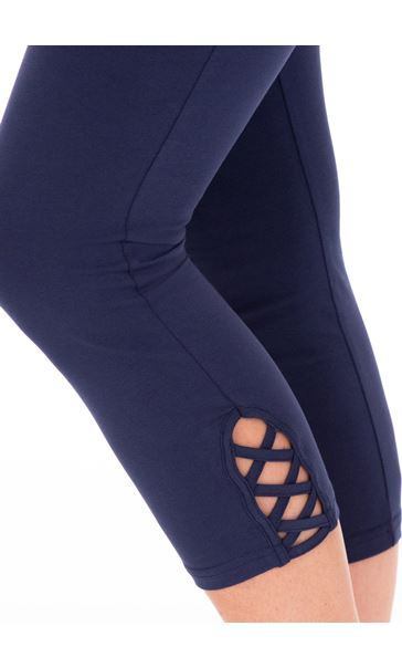 Cropped Jersey Leggings Blue - Gallery Image 3