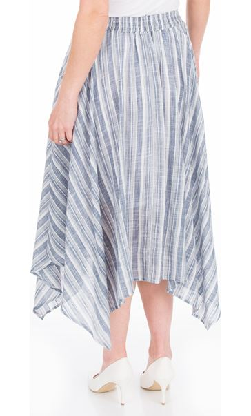 Striped Cotton Hanky Hem Skirt