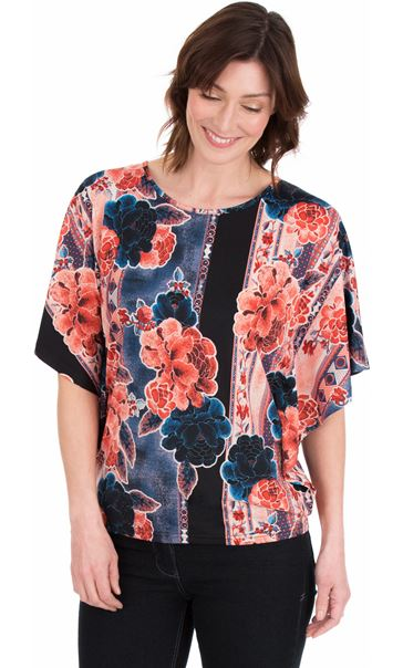 Printed Tie Back Stretch Top Blue/Coral