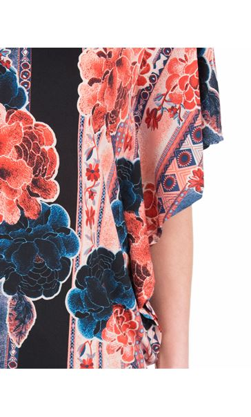 Printed Tie Back Stretch Top Blue/Coral - Gallery Image 3