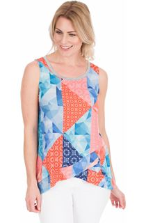 Sleeveless Printed Top - Blue/Coral