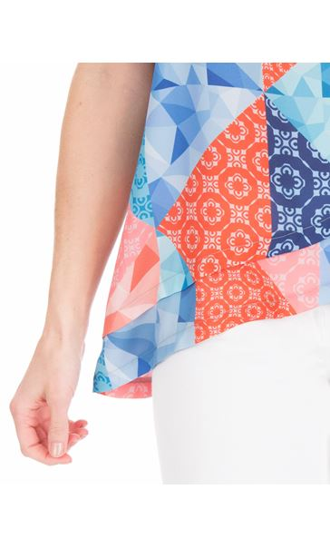 Sleeveless Printed Top Blue/Coral - Gallery Image 3