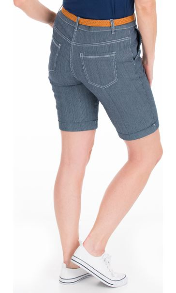Striped Belted Shorts Blue - Gallery Image 2