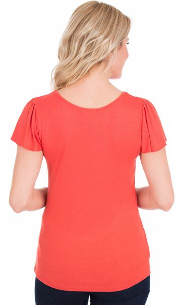 Short Sleeve Lace Trim Jersey Top Coral - Gallery Image 2