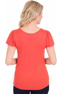 Short Sleeve Lace Trim Jersey Top - Coral