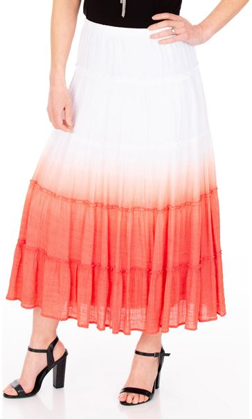 Ombre Layered Pull On Maxi Skirt Coral/White