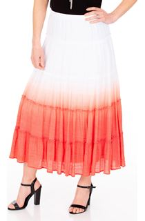 Ombre Pull On Maxi Skirt - White