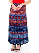 Printed Crinkle Crepe Maxi Skirt Blue/Coral - Gallery Image 1