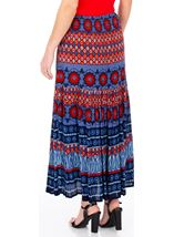 Printed Crinkle Crepe Maxi Skirt Blue/Coral - Gallery Image 2