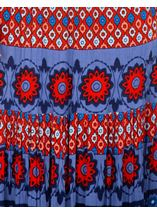 Printed Crinkle Crepe Maxi Skirt Blue/Coral - Gallery Image 3
