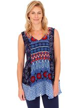 Sleeveless Printed Panelled Top Blue/Coral - Gallery Image 1