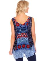 Sleeveless Printed Panelled Top Blue/Coral - Gallery Image 2